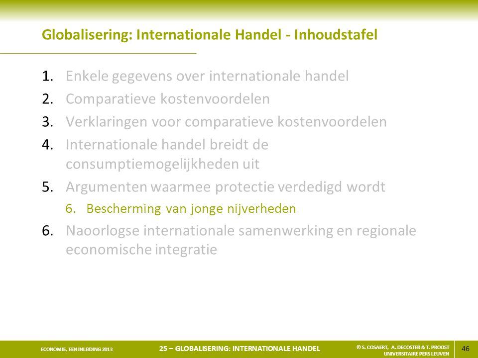 46 ECONOMIE, EEN INLEIDING 2013 25 – GLOBALISERING: INTERNATIONALE HANDEL © S. COSAERT, A. DECOSTER & T. PROOST UNIVERSITAIRE PERS LEUVEN Globaliserin
