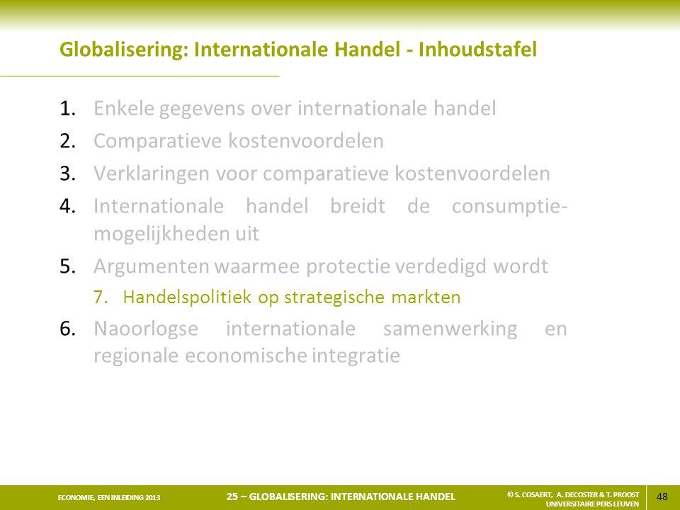 48 ECONOMIE, EEN INLEIDING 2013 25 – GLOBALISERING: INTERNATIONALE HANDEL © S. COSAERT, A. DECOSTER & T. PROOST UNIVERSITAIRE PERS LEUVEN Globaliserin