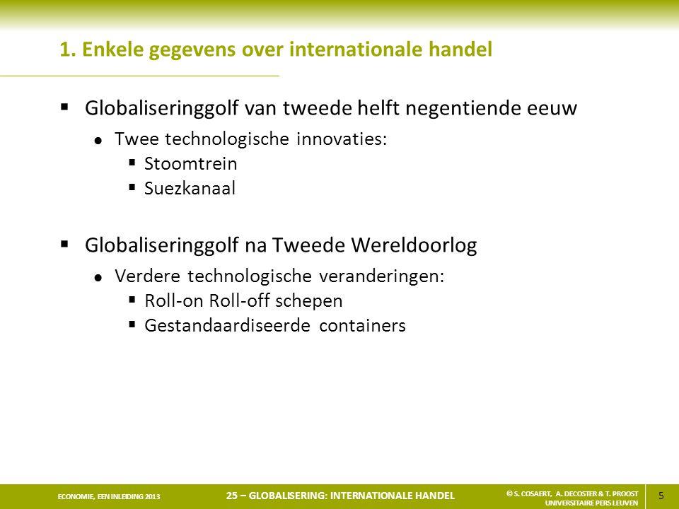 5 ECONOMIE, EEN INLEIDING 2013 25 – GLOBALISERING: INTERNATIONALE HANDEL © S. COSAERT, A. DECOSTER & T. PROOST UNIVERSITAIRE PERS LEUVEN 1. Enkele geg