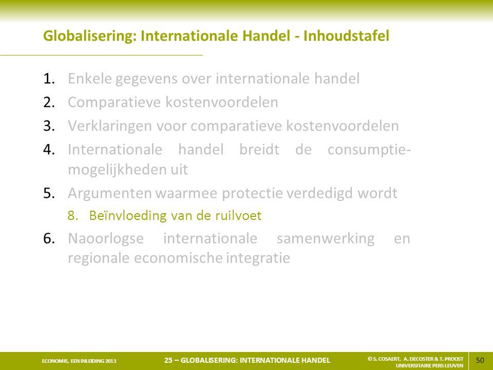 50 ECONOMIE, EEN INLEIDING 2013 25 – GLOBALISERING: INTERNATIONALE HANDEL © S. COSAERT, A. DECOSTER & T. PROOST UNIVERSITAIRE PERS LEUVEN Globaliserin