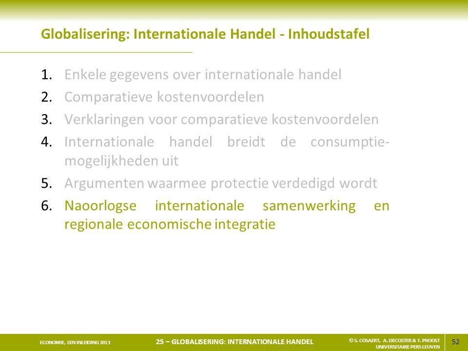 52 ECONOMIE, EEN INLEIDING 2013 25 – GLOBALISERING: INTERNATIONALE HANDEL © S. COSAERT, A. DECOSTER & T. PROOST UNIVERSITAIRE PERS LEUVEN Globaliserin