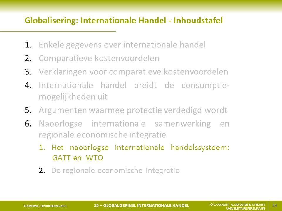 54 ECONOMIE, EEN INLEIDING 2013 25 – GLOBALISERING: INTERNATIONALE HANDEL © S. COSAERT, A. DECOSTER & T. PROOST UNIVERSITAIRE PERS LEUVEN Globaliserin