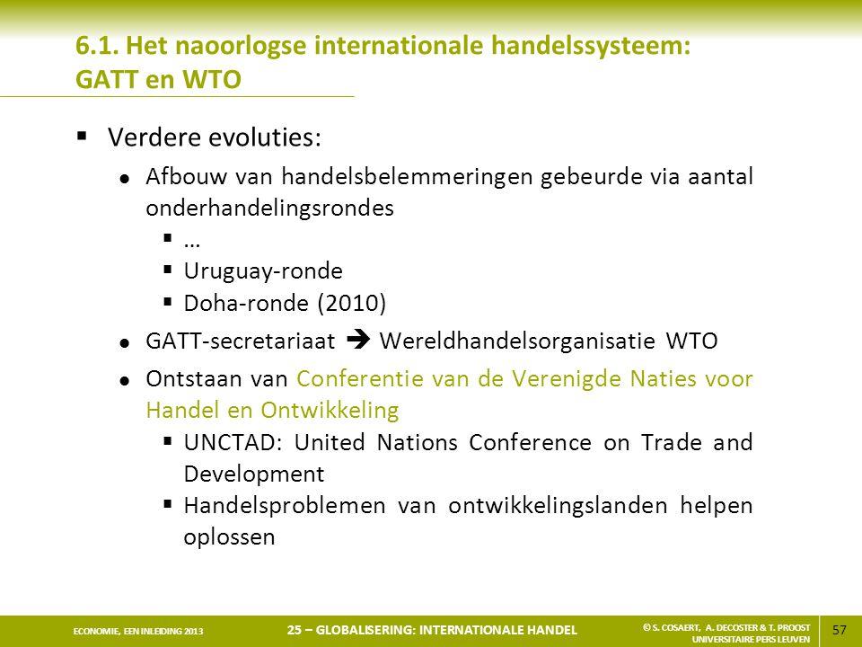 57 ECONOMIE, EEN INLEIDING 2013 25 – GLOBALISERING: INTERNATIONALE HANDEL © S. COSAERT, A. DECOSTER & T. PROOST UNIVERSITAIRE PERS LEUVEN 6.1. Het nao