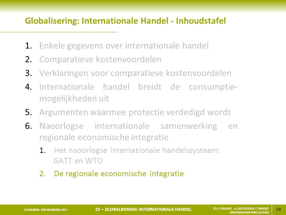 58 ECONOMIE, EEN INLEIDING 2013 25 – GLOBALISERING: INTERNATIONALE HANDEL © S. COSAERT, A. DECOSTER & T. PROOST UNIVERSITAIRE PERS LEUVEN Globaliserin