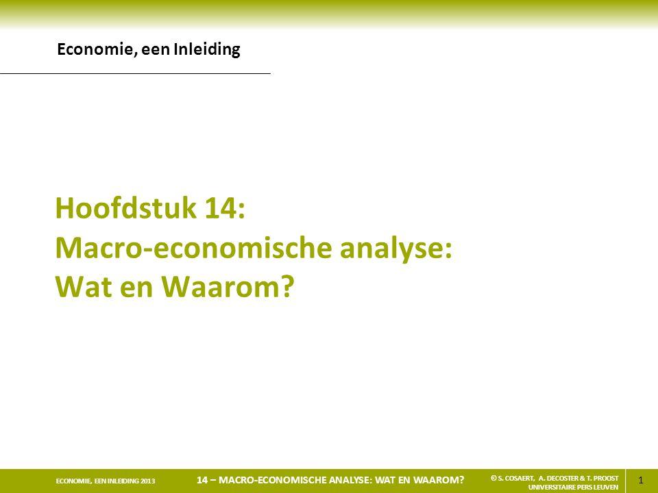 1 ECONOMIE, EEN INLEIDING 2013 14 – MACRO-ECONOMISCHE ANALYSE: WAT EN WAAROM? © S. COSAERT, A. DECOSTER & T. PROOST UNIVERSITAIRE PERS LEUVEN Hoofdstu