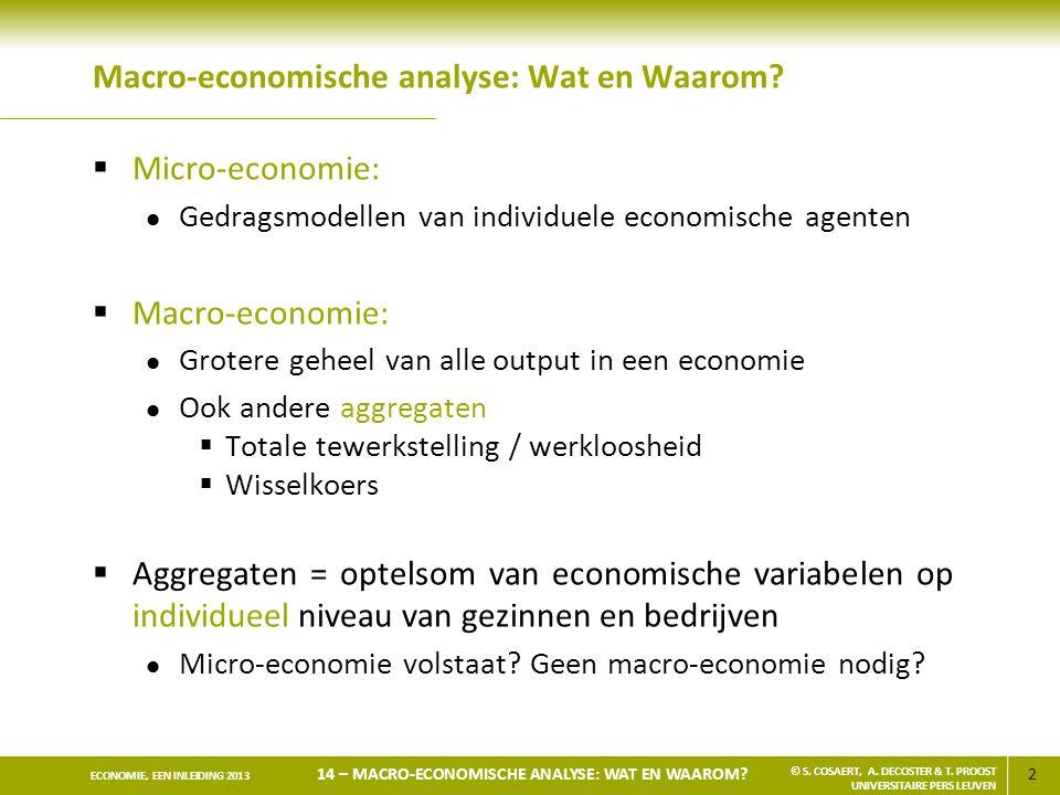 2 ECONOMIE, EEN INLEIDING 2013 14 – MACRO-ECONOMISCHE ANALYSE: WAT EN WAAROM? © S. COSAERT, A. DECOSTER & T. PROOST UNIVERSITAIRE PERS LEUVEN Macro-ec