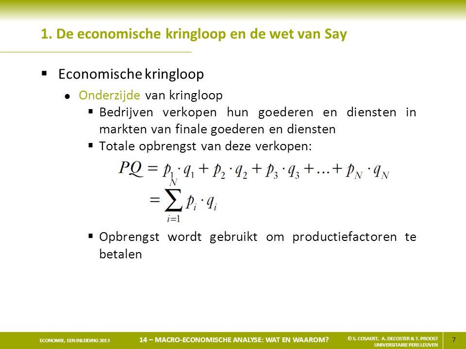 18 ECONOMIE, EEN INLEIDING 2013 14 – MACRO-ECONOMISCHE ANALYSE: WAT EN WAAROM.