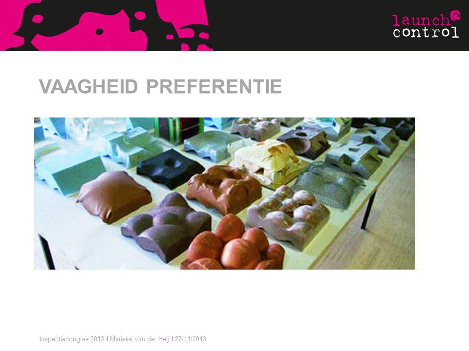 Inspectiecongres 2013 I Marieke van der Heij I 27/11/2013 VAAGHEID PREFERENTIE