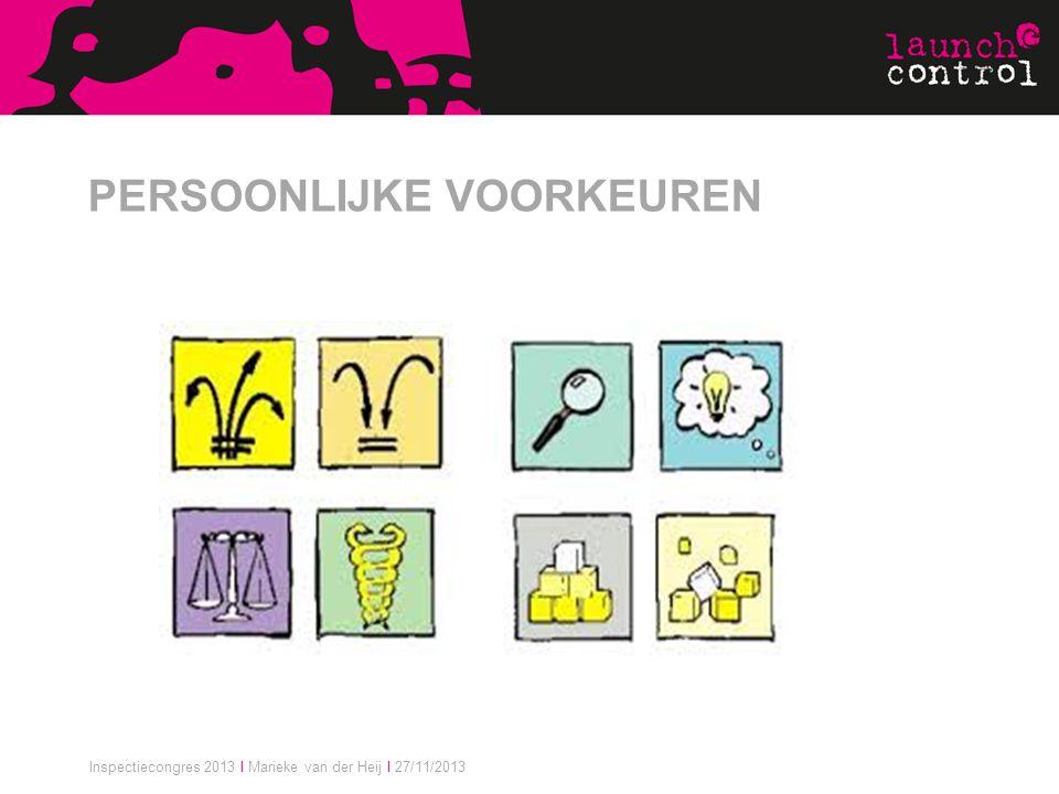 Inspectiecongres 2013 I Marieke van der Heij I 27/11/2013 PERSOONLIJKE VOORKEUREN