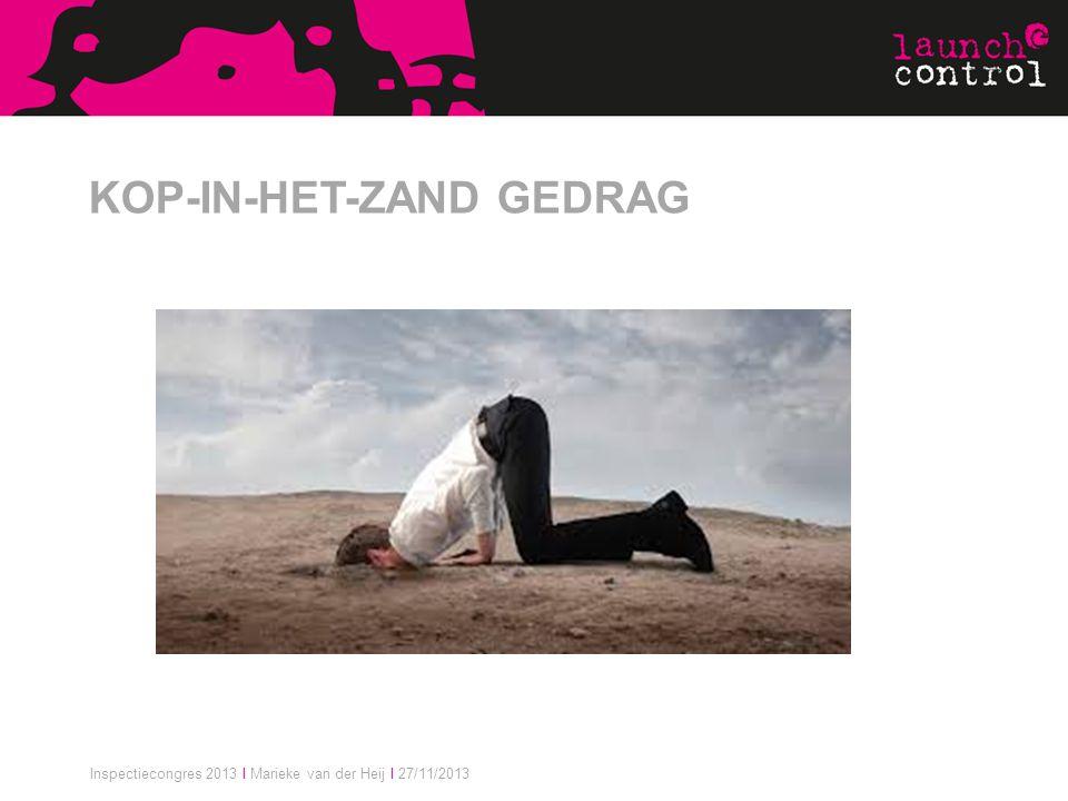 Inspectiecongres 2013 I Marieke van der Heij I 27/11/2013 KOP-IN-HET-ZAND GEDRAG