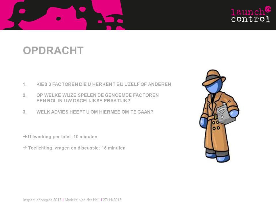 Inspectiecongres 2013 I Marieke van der Heij I 27/11/2013 OPDRACHT 1.KIES 3 FACTOREN DIE U HERKENT BIJ UZELF OF ANDEREN 2.OP WELKE WIJZE SPELEN DE GEN