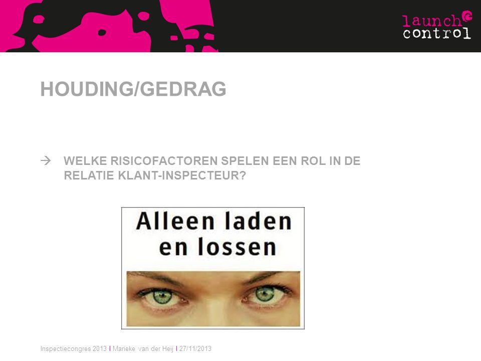 Inspectiecongres 2013 I Marieke van der Heij I 27/11/2013 HOUDING/GEDRAG  WELKE RISICOFACTOREN SPELEN EEN ROL IN DE RELATIE KLANT-INSPECTEUR?