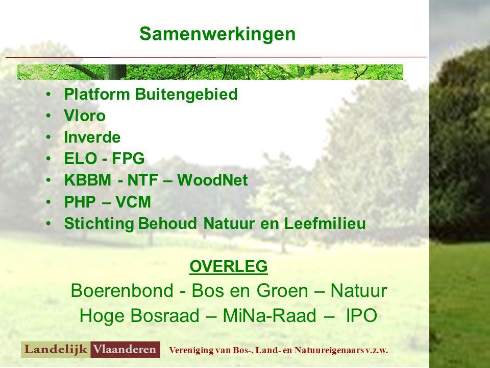 Vereniging van Bos-, Land- en Natuureigenaars v.z.w. Platform Buitengebied Vloro Inverde ELO - FPG KBBM - NTF – WoodNet PHP – VCM Stichting Behoud Nat