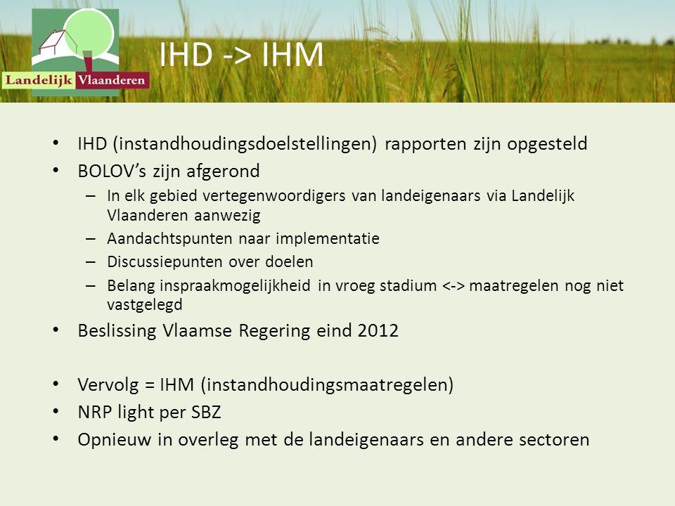 IHD -> IHM IHD (instandhoudingsdoelstellingen) rapporten zijn opgesteld BOLOV's zijn afgerond – In elk gebied vertegenwoordigers van landeigenaars via
