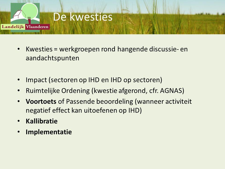 De kwesties Kwesties = werkgroepen rond hangende discussie- en aandachtspunten Impact (sectoren op IHD en IHD op sectoren) Ruimtelijke Ordening (kwest