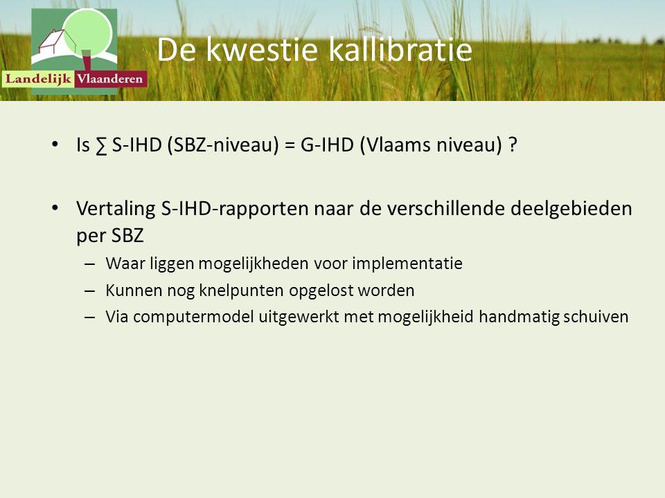 De kwestie kallibratie Is ∑ S-IHD (SBZ-niveau) = G-IHD (Vlaams niveau) ? Vertaling S-IHD-rapporten naar de verschillende deelgebieden per SBZ – Waar l
