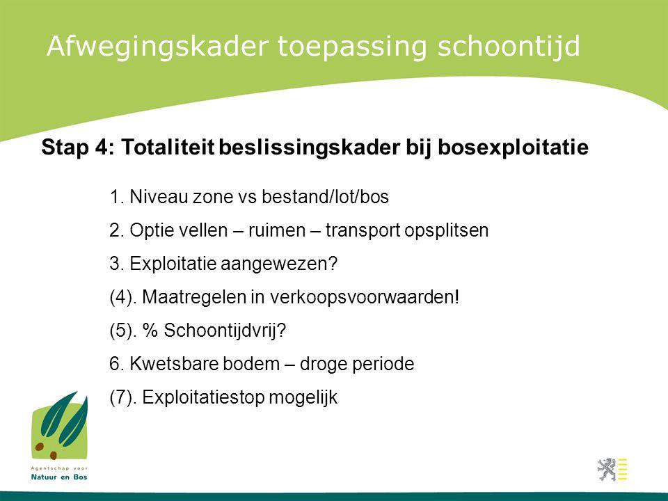 Afwegingskader toepassing schoontijd Stap 4: Totaliteit beslissingskader bij bosexploitatie 1. Niveau zone vs bestand/lot/bos 2. Optie vellen – ruimen