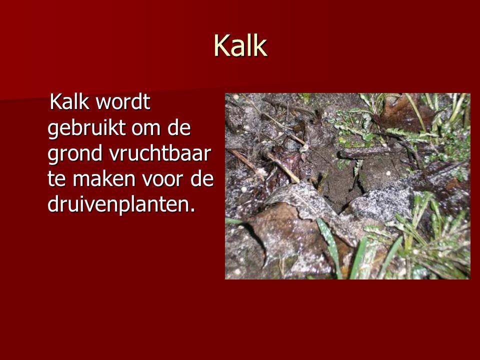 Kalk Kalk wordt gebruikt om de grond vruchtbaar te maken voor de druivenplanten.