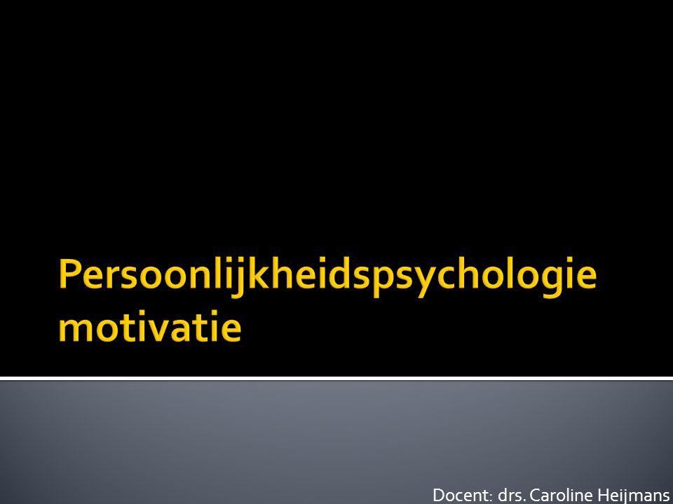 Na het bestuderen van de theorie en afronden van deze les:  Kun je de verschillende soorten motivatie opsommen;  Kun je je eigen motivatie om deze opleiding te volgen, benoemen;  Kun je een samenvatting geven van de verschillende motivatietheorieën;  Kun je verklaren hoe flow zelfmotiverend kan werken;  Kun je de behoeftenhiërarchie van Maslow in een situatie toepassen;  Kun je de aspecten van motivatie relateren aan persoonlijkheid.