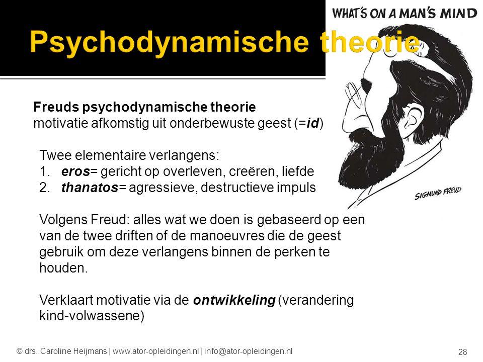 Freuds psychodynamische theorie motivatie afkomstig uit onderbewuste geest (=id) Twee elementaire verlangens: 1. eros= gericht op overleven, creëren,