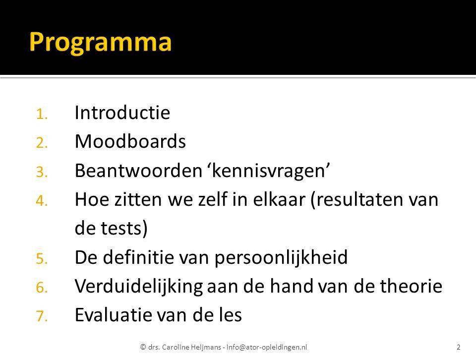 1. Introductie 2. Moodboards 3. Beantwoorden 'kennisvragen' 4. Hoe zitten we zelf in elkaar (resultaten van de tests) 5. De definitie van persoonlijkh