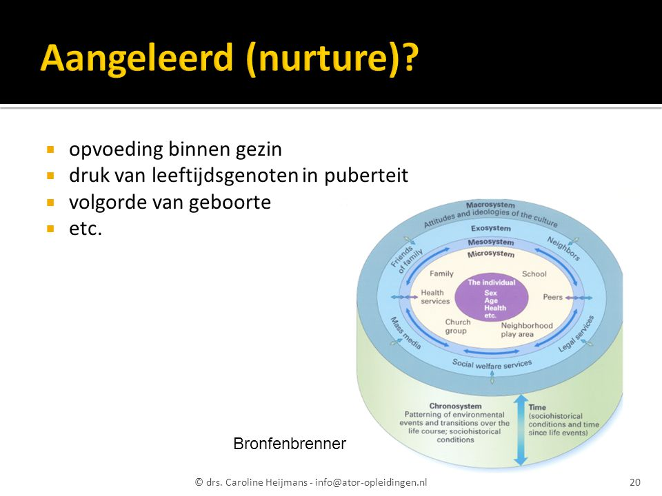 opvoeding binnen gezin  druk van leeftijdsgenoten in puberteit  volgorde van geboorte  etc. © drs. Caroline Heijmans - info@ator-opleidingen.nl20