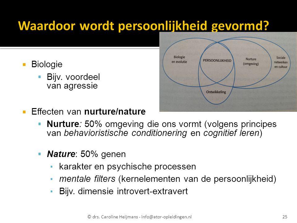  Biologie  Bijv. voordeel van agressie  Effecten van nurture/nature  Nurture: 50% omgeving die ons vormt (volgens principes van behavioristische c