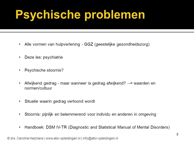 Oorzaken van psychische problemen Psychosociale factoren - traumatische ervaringen - relationele factoren - opvoeding en gezinsfactoren - cultureel-maatschappelijke factoren Aanleg - erfelijkheid - persoonlijkheid, temperament Organisatorische factoren - lichamelijke factoren - biochemische en hormonale factoren 4© drs.