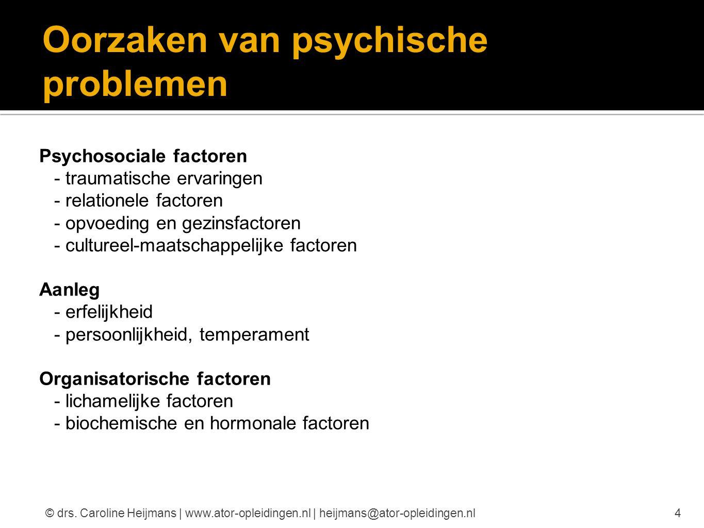 Oorzaken van psychische problemen Psychosociale factoren - traumatische ervaringen - relationele factoren - opvoeding en gezinsfactoren - cultureel-ma