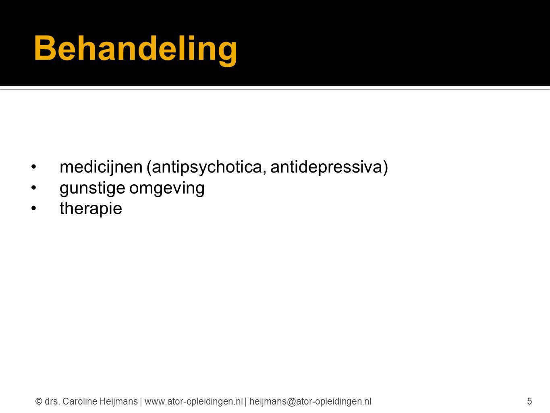 Behandeling medicijnen (antipsychotica, antidepressiva) gunstige omgeving therapie 5© drs. Caroline Heijmans | www.ator-opleidingen.nl | heijmans@ator