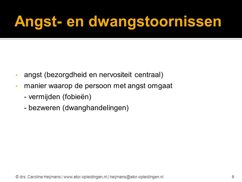 Angststoornissen paniekstoornissen fobieën posttraumatische stressstoornis 9© drs.