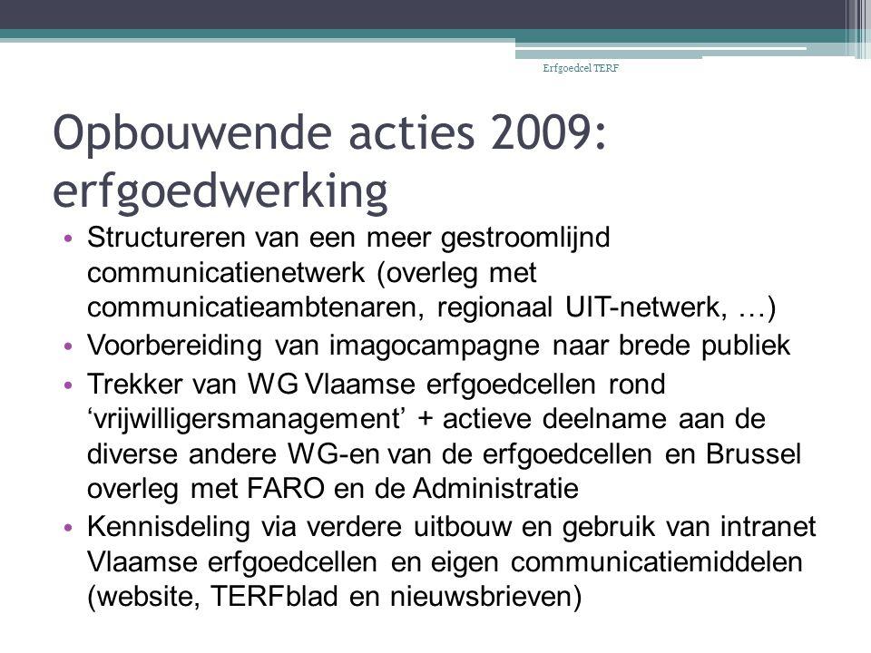 Opbouwende acties 2009: erfgoedwerking Structureren van een meer gestroomlijnd communicatienetwerk (overleg met communicatieambtenaren, regionaal UIT-netwerk, …) Voorbereiding van imagocampagne naar brede publiek Trekker van WG Vlaamse erfgoedcellen rond 'vrijwilligersmanagement' + actieve deelname aan de diverse andere WG-en van de erfgoedcellen en Brussel overleg met FARO en de Administratie Kennisdeling via verdere uitbouw en gebruik van intranet Vlaamse erfgoedcellen en eigen communicatiemiddelen (website, TERFblad en nieuwsbrieven) Erfgoedcel TERF