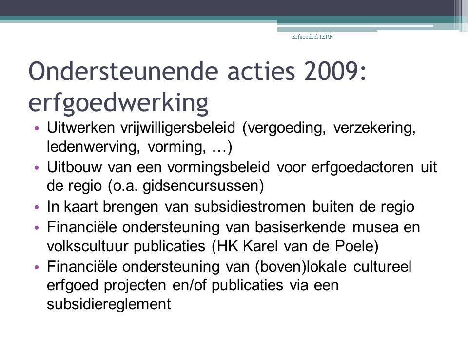 Ondersteunende acties 2009: erfgoedwerking Uitwerken vrijwilligersbeleid (vergoeding, verzekering, ledenwerving, vorming, …) Uitbouw van een vormingsbeleid voor erfgoedactoren uit de regio (o.a.