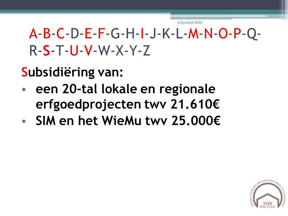 A-B-C-D-E-F-G-H-I-J-K-L-M-N-O-P-Q- R-S-T-U-V-W-X-Y-Z Subsidiëring van: een 20-tal lokale en regionale erfgoedprojecten twv 21.610€ SIM en het WieMu twv 25.000€ Erfgoedcel TERF