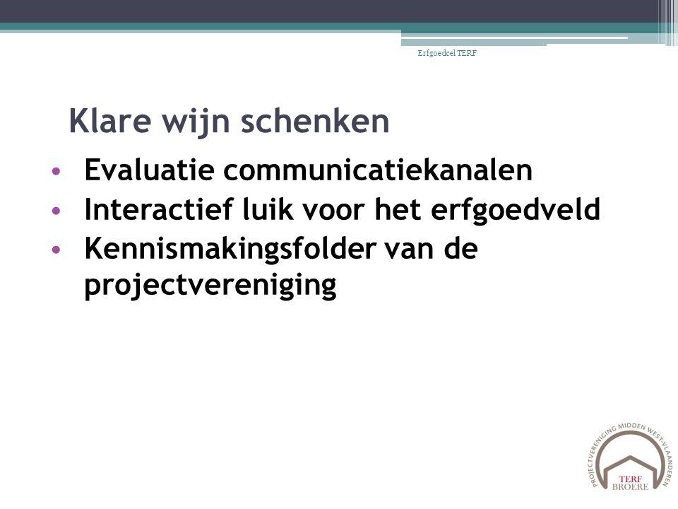 Klare wijn schenken Evaluatie communicatiekanalen Interactief luik voor het erfgoedveld Kennismakingsfolder van de projectvereniging Erfgoedcel TERF