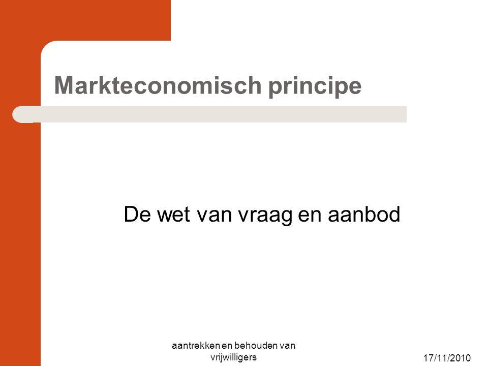 17/11/2010 Markteconomisch principe De wet van vraag en aanbod aantrekken en behouden van vrijwilligers