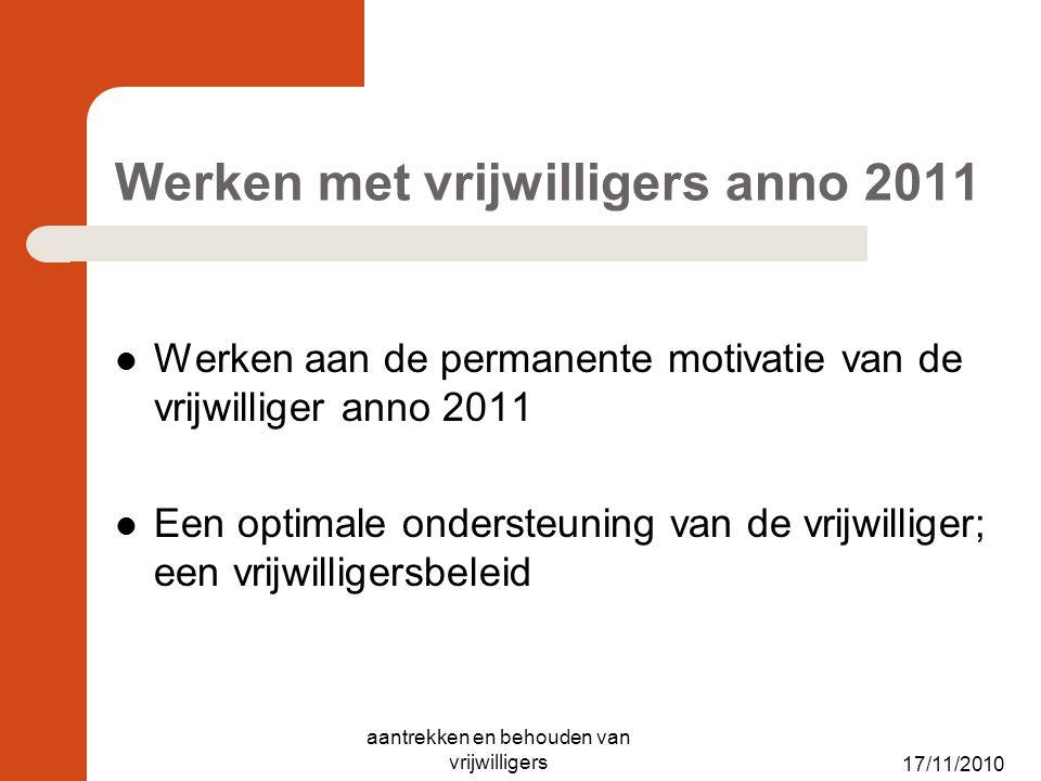 Werken met vrijwilligers anno 2011 Werken aan de permanente motivatie van de vrijwilliger anno 2011 Een optimale ondersteuning van de vrijwilliger; ee