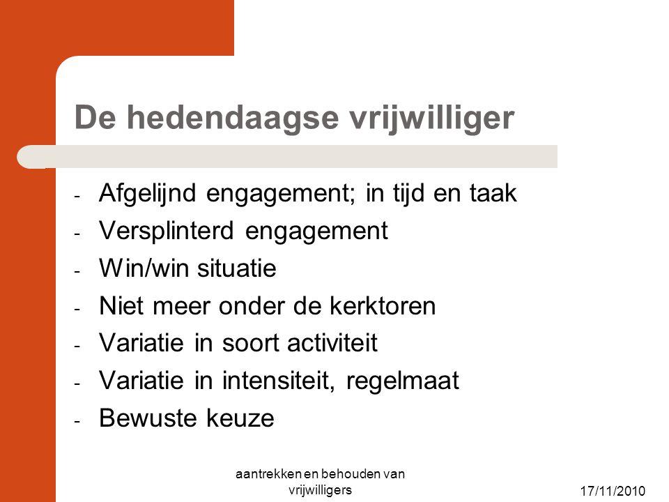 De hedendaagse vrijwilliger - Afgelijnd engagement; in tijd en taak - Versplinterd engagement - Win/win situatie - Niet meer onder de kerktoren - Vari