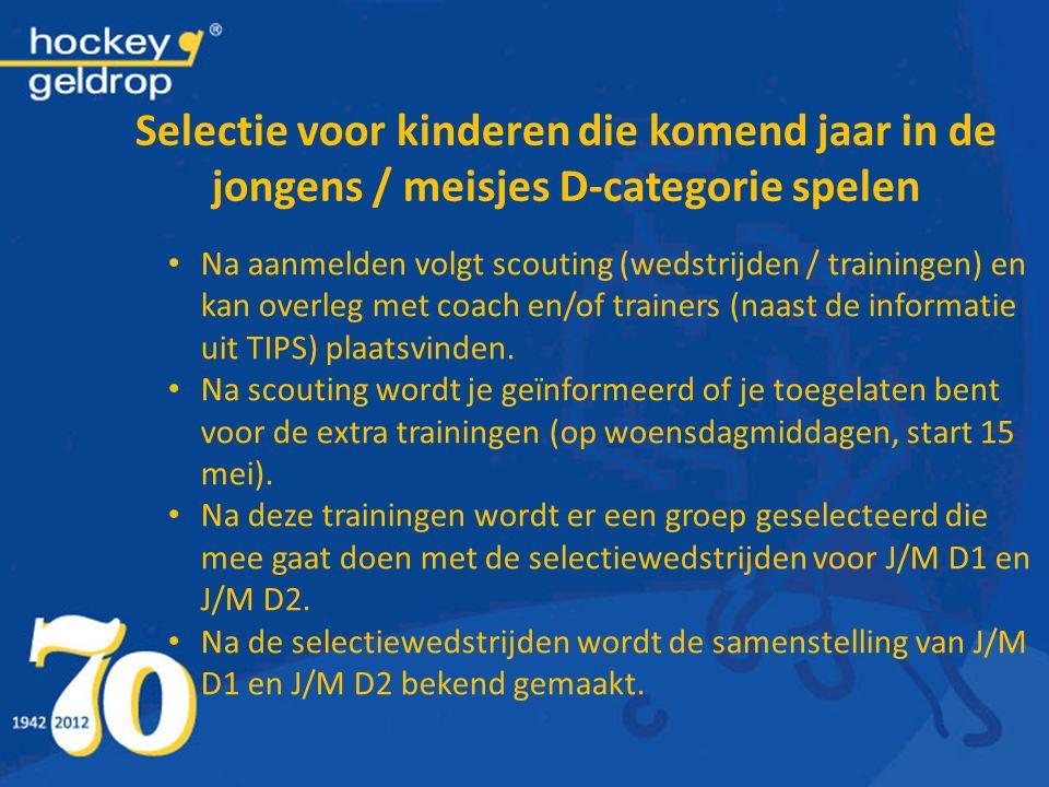 Selectie voor kinderen die komend jaar in de jongens / meisjes D-categorie spelen Na aanmelden volgt scouting (wedstrijden / trainingen) en kan overle