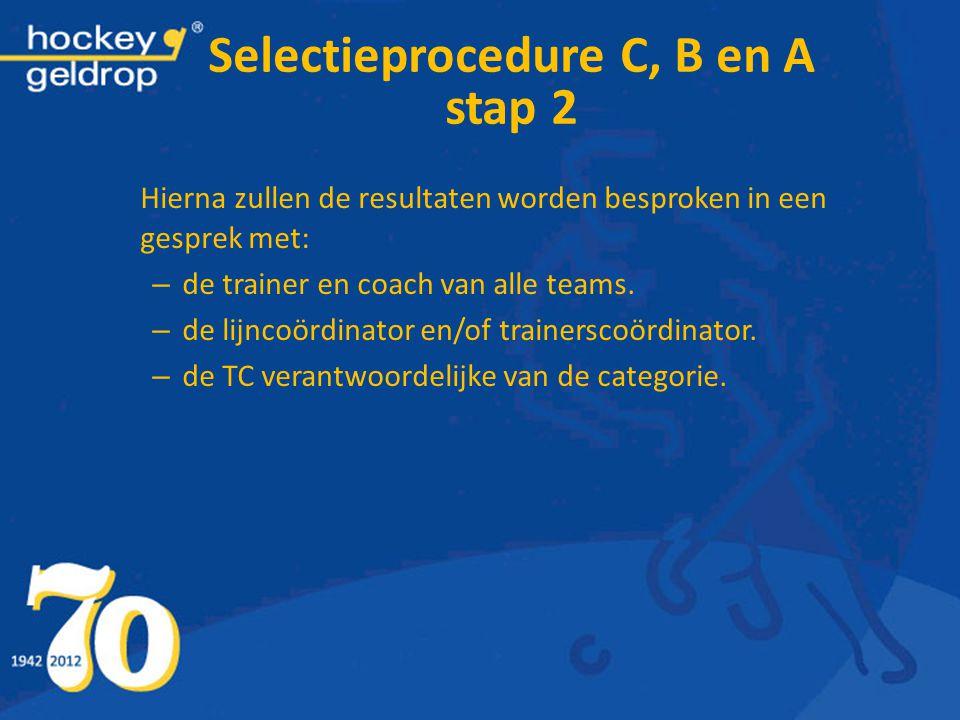 Hierna zullen de resultaten worden besproken in een gesprek met: – de trainer en coach van alle teams. – de lijncoördinator en/of trainerscoördinator.