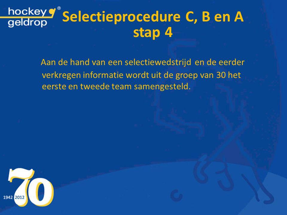 Selectieprocedure C, B en A stap 4 Aan de hand van een selectiewedstrijd en de eerder verkregen informatie wordt uit de groep van 30 het eerste en twe