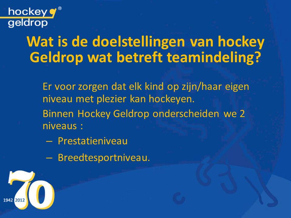 Wat is de doelstellingen van hockey Geldrop wat betreft teamindeling? Er voor zorgen dat elk kind op zijn/haar eigen niveau met plezier kan hockeyen.