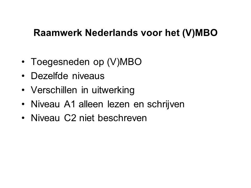 Raamwerk Nederlands voor het (V)MBO Toegesneden op (V)MBO Dezelfde niveaus Verschillen in uitwerking Niveau A1 alleen lezen en schrijven Niveau C2 nie