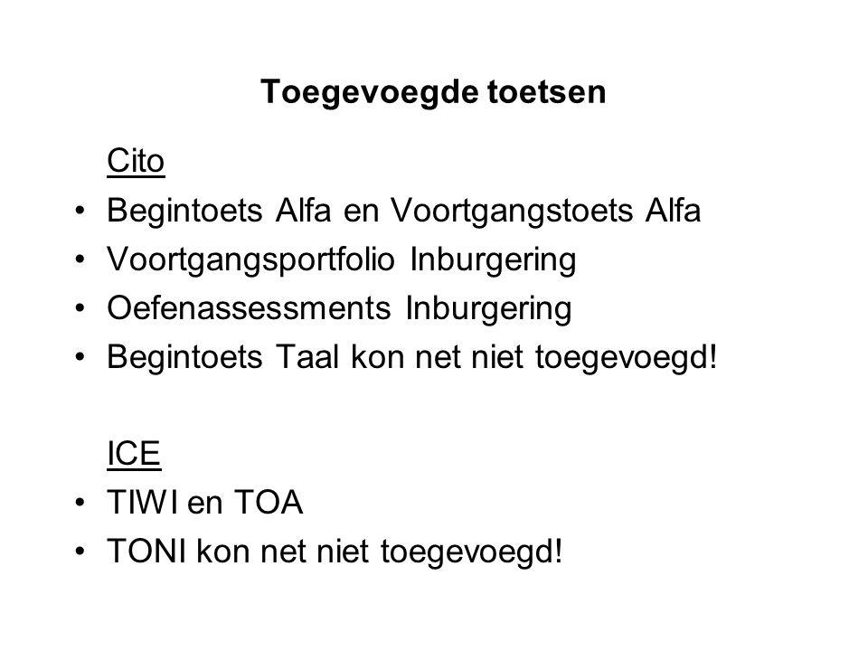 Toegevoegde toetsen Cito Begintoets Alfa en Voortgangstoets Alfa Voortgangsportfolio Inburgering Oefenassessments Inburgering Begintoets Taal kon net