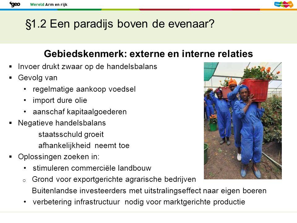 §1.2 Een paradijs boven de evenaar?  Invoer drukt zwaar op de handelsbalans  Gevolg van regelmatige aankoop voedsel import dure olie aanschaf kapita