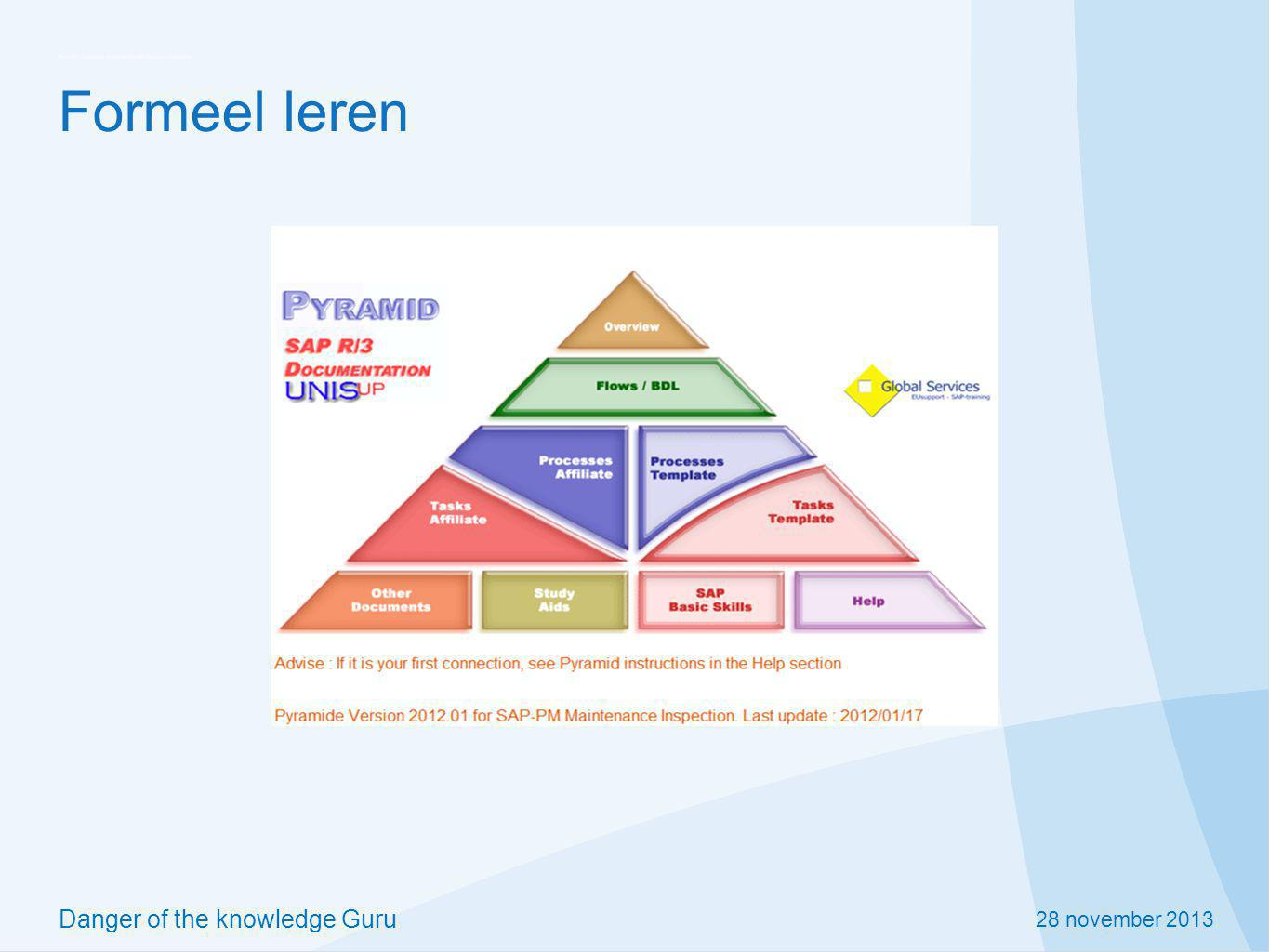 28 november 2013 Danger of the knowledge Guru Formeel leren
