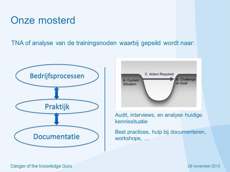 28 november 2013 Danger of the knowledge Guru Onze mosterd Bedrijfsprocessen Praktijk Documentatie Audit, interviews, en analyse huidige kennissituati