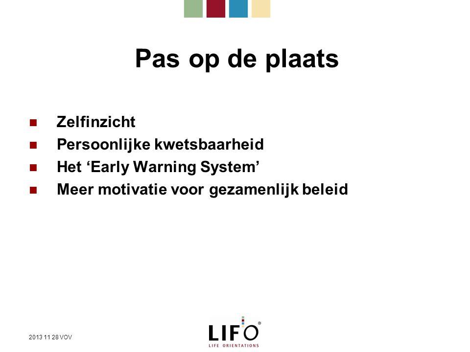 Pas op de plaats Zelfinzicht Persoonlijke kwetsbaarheid Het 'Early Warning System' Meer motivatie voor gezamenlijk beleid 2013 11 28 VOV