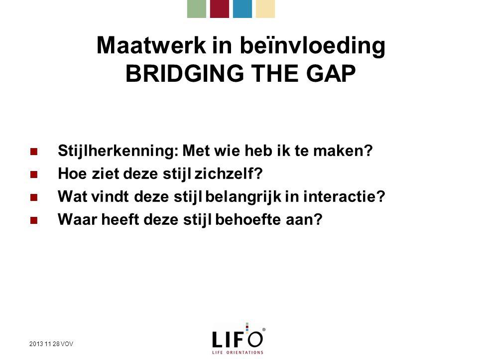 Maatwerk in beïnvloeding BRIDGING THE GAP Stijlherkenning: Met wie heb ik te maken? Hoe ziet deze stijl zichzelf? Wat vindt deze stijl belangrijk in i