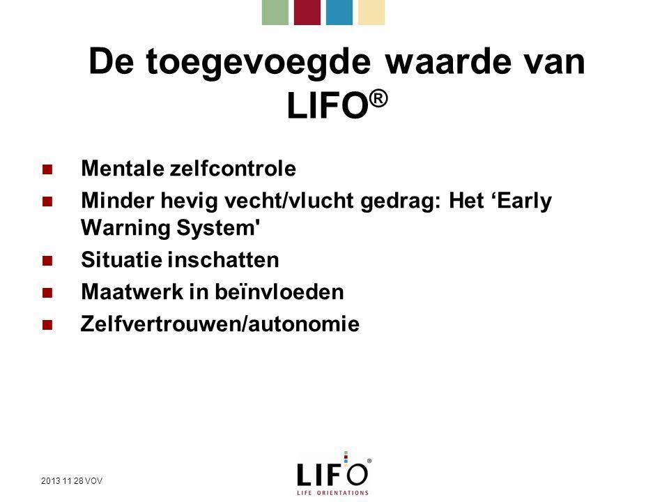 De toegevoegde waarde van LIFO ® Mentale zelfcontrole Minder hevig vecht/vlucht gedrag: Het 'Early Warning System' Situatie inschatten Maatwerk in beï
